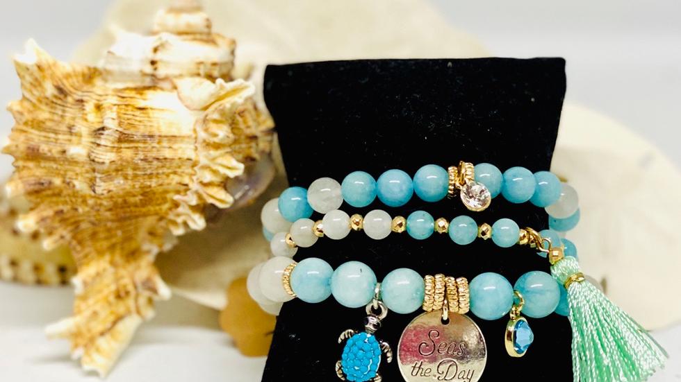 3 pc bracelet set with Turtle