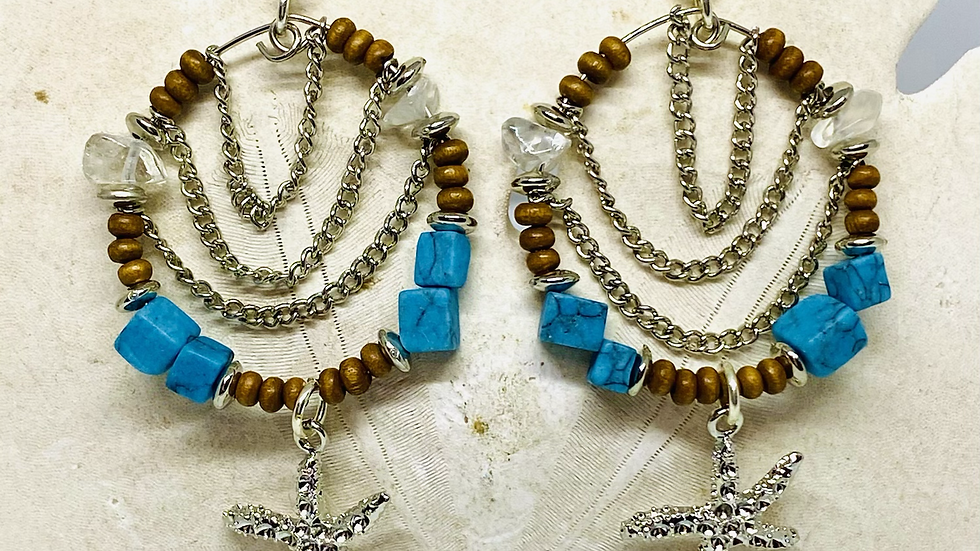 Starfish earrings , nickle free