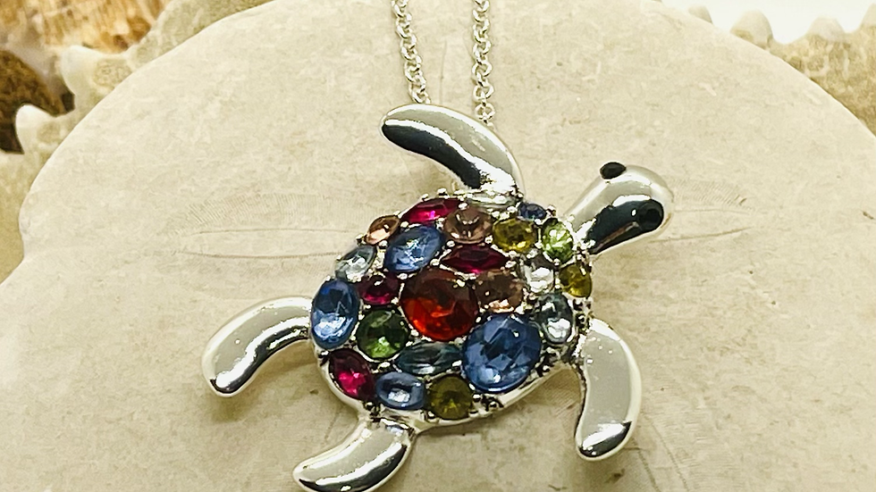 Rhinestone Turtle necklace