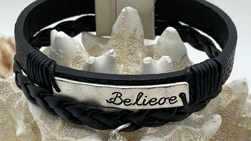 Black leather double believe bracelet