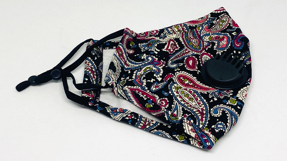 Paisley black mask, 100% cotton Adjustable mask