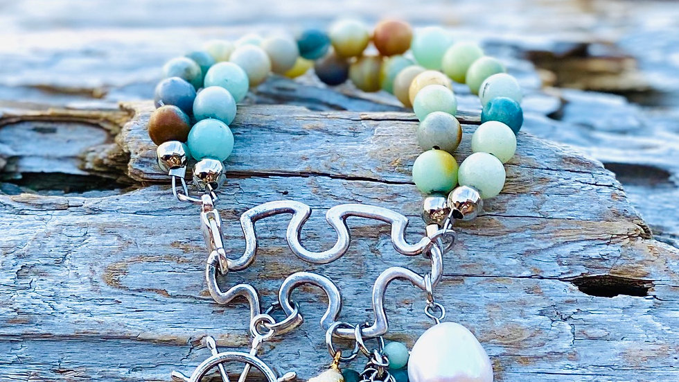 Amazonite Double bracelet with coastal charms