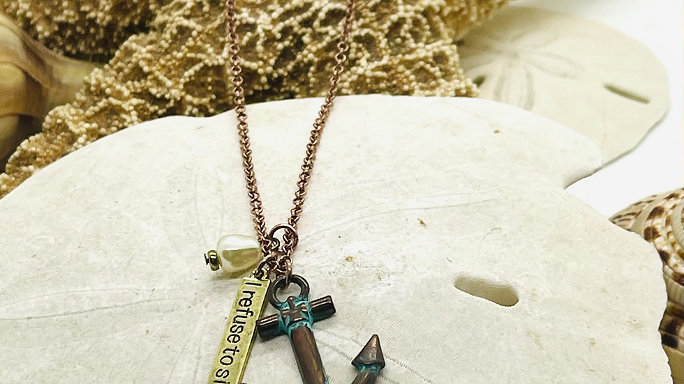 Patina anchor necklace, I refuse to sink