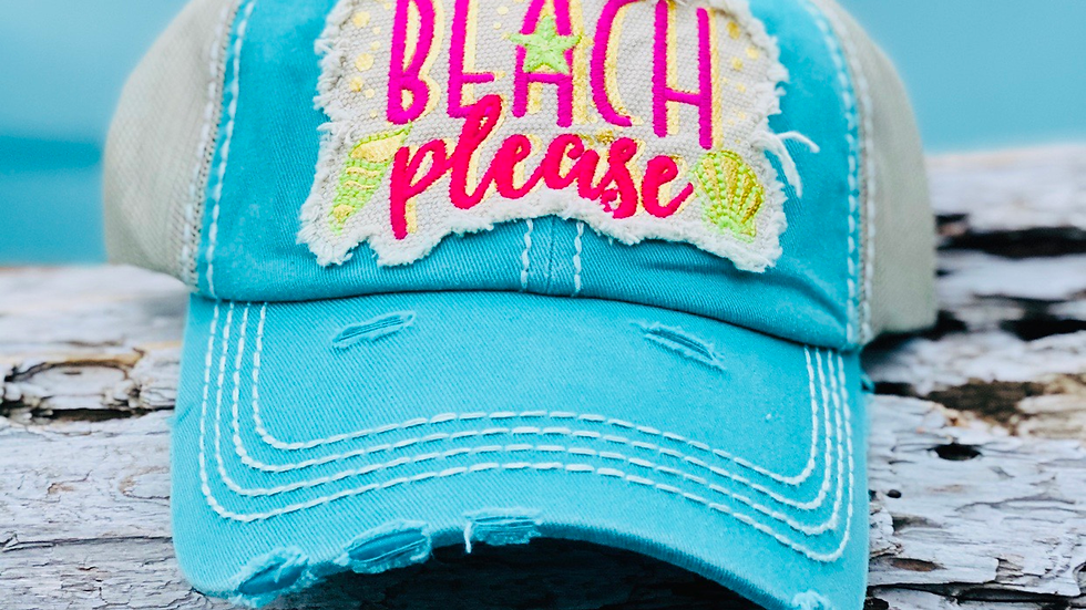 Beach please vintage cap