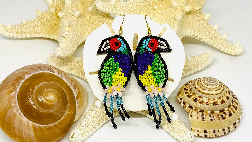 Parrots seeded earrings , Earring posts or nickel free