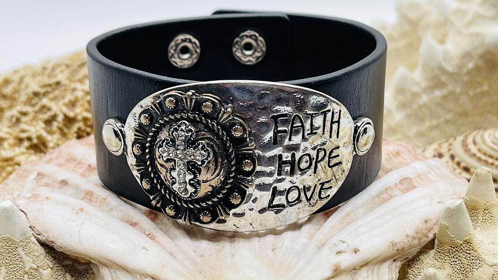 Faith, Hope and Love black leather bracelet