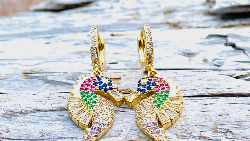 studded seahorse earrings