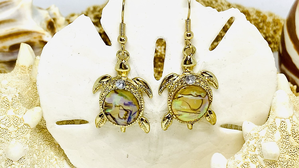 Gold turtle earrings , mother of turtle / nickle free