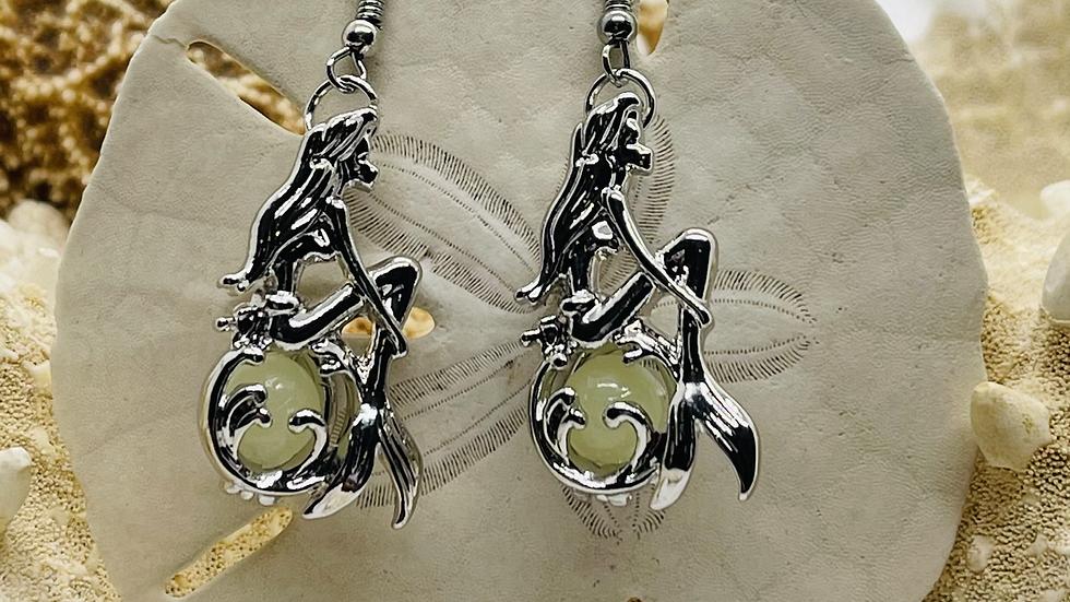 Mermaid earrings that glow in the dark/nickle free