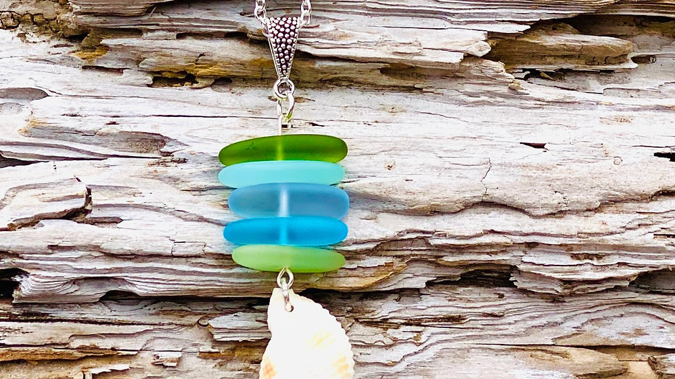Sea glass with shell necklace