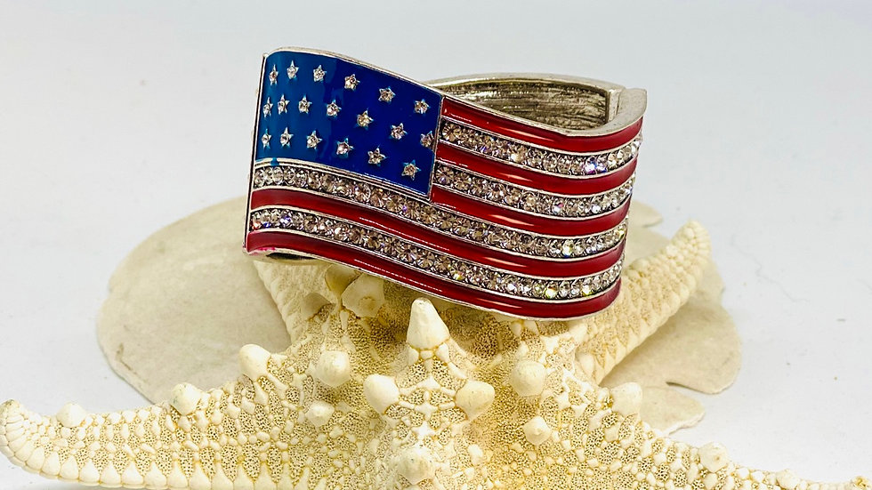 American Flag cuff bracelet /opens two ways