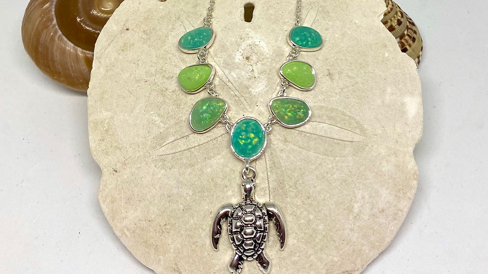 Turtle necklace with recycled sea-glass