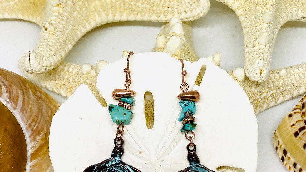 Patina Turtle earrings
