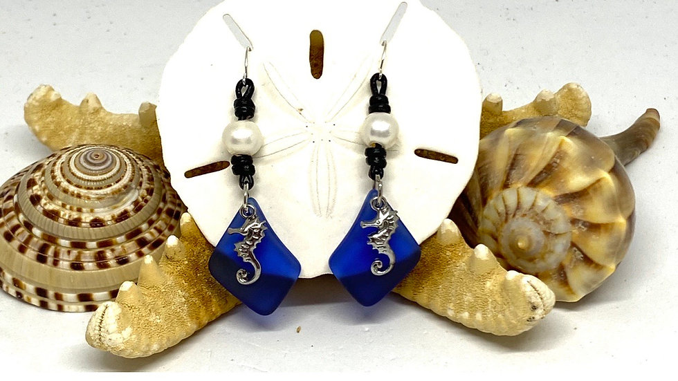 Seahorse recycled glass on leather and Pearl Earrings