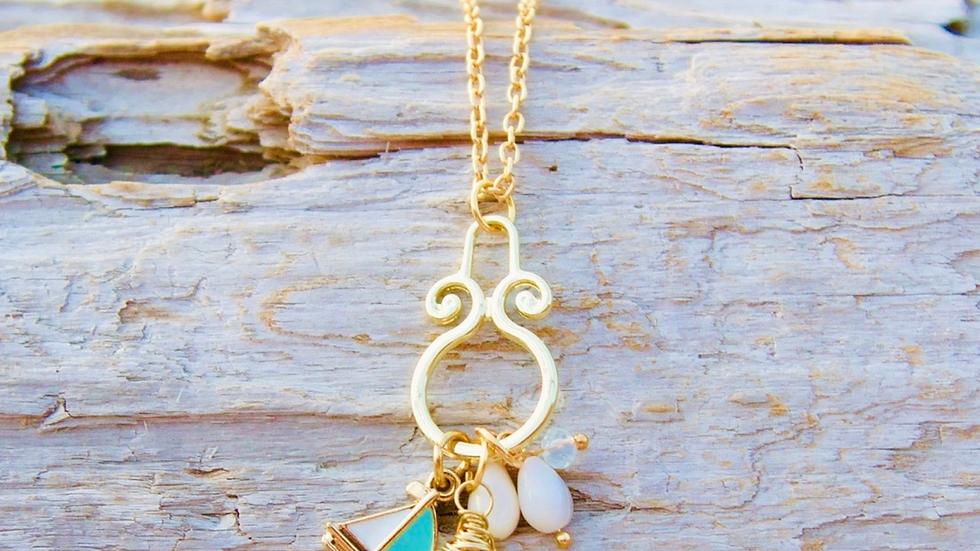 Sailboat sea glass necklace