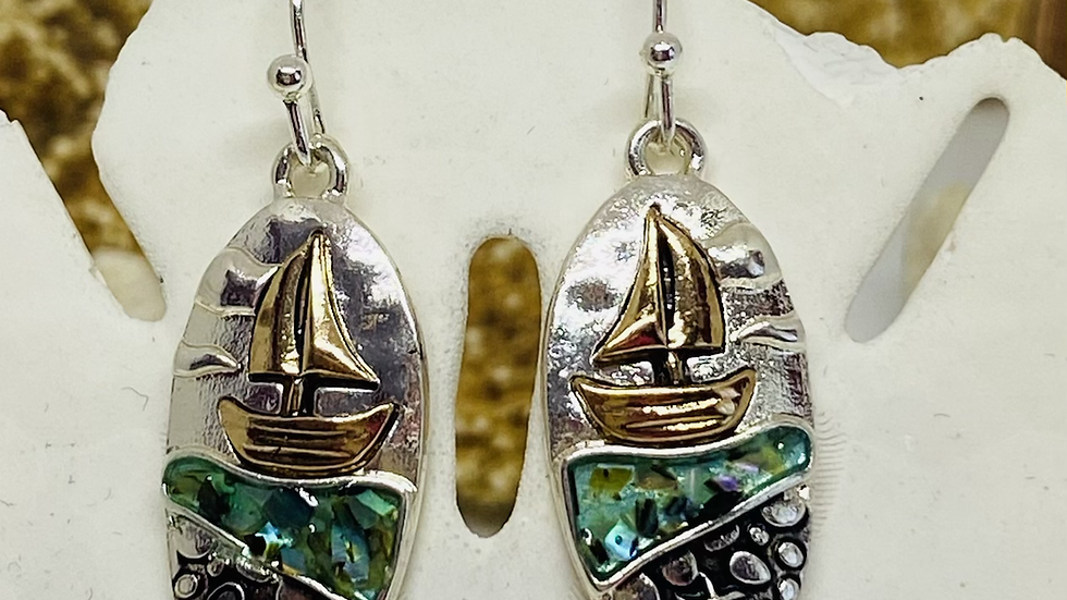 To town mother of pearl sailboat earrings