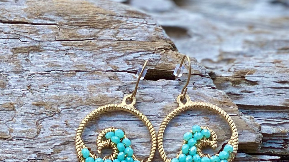 Gold with blue wave earrings