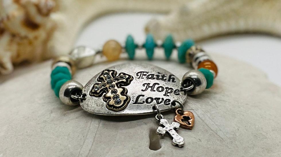 Faith, Hope and love bracelet