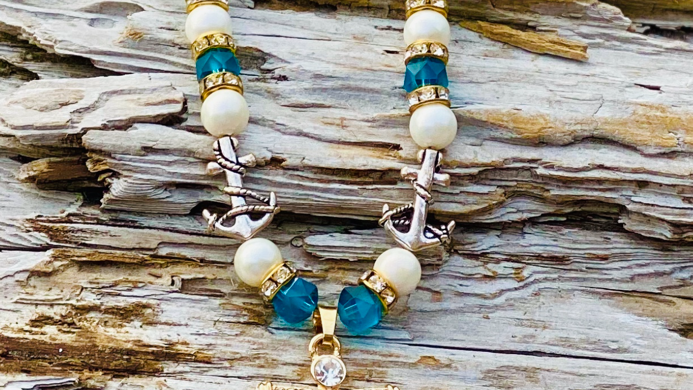 Anchor necklace with anchor  charms