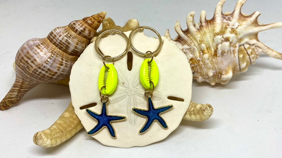 Cowrie and starfish  earrings