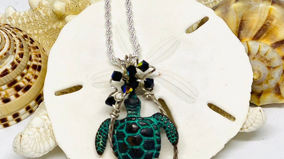 Wire wrapped Patina turtle necklace