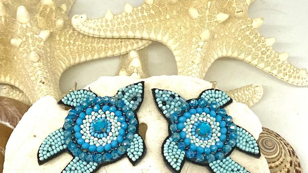 Turtle seeded earrings