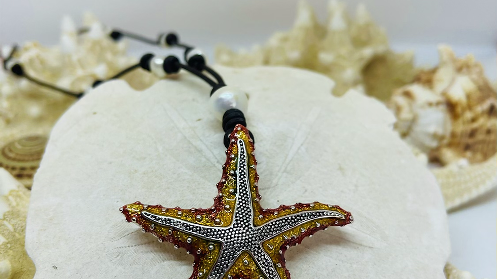 Black leather and pearl starfish necklace (24 inches)