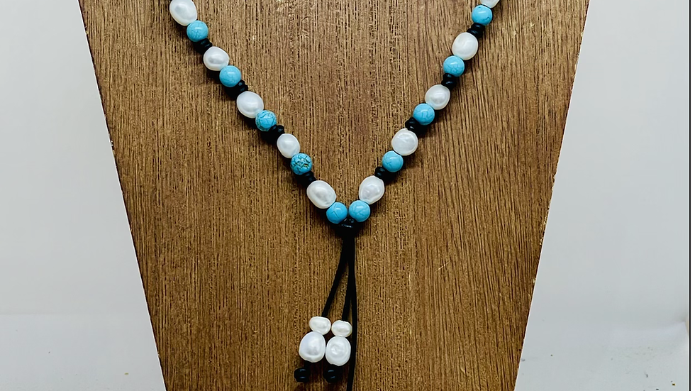 Black leather and pearl and turquoise, (full necklace )