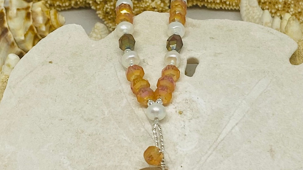 Wire wrapped sea glass necklace with pearls & beads