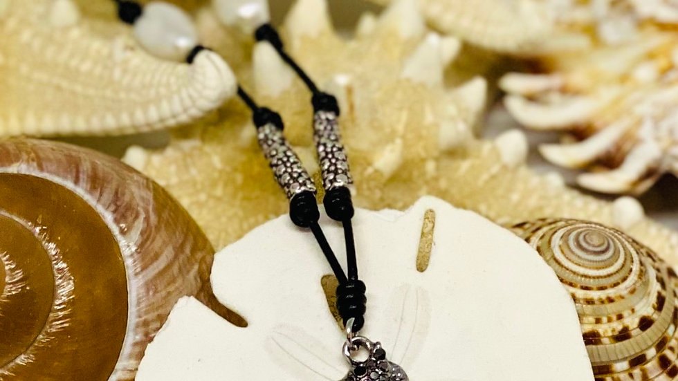 Seahorse leather and Pearl necklace