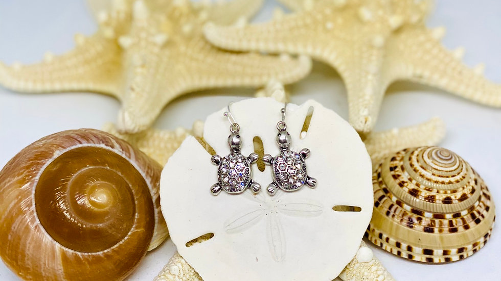 Silver turtle earrings with bling