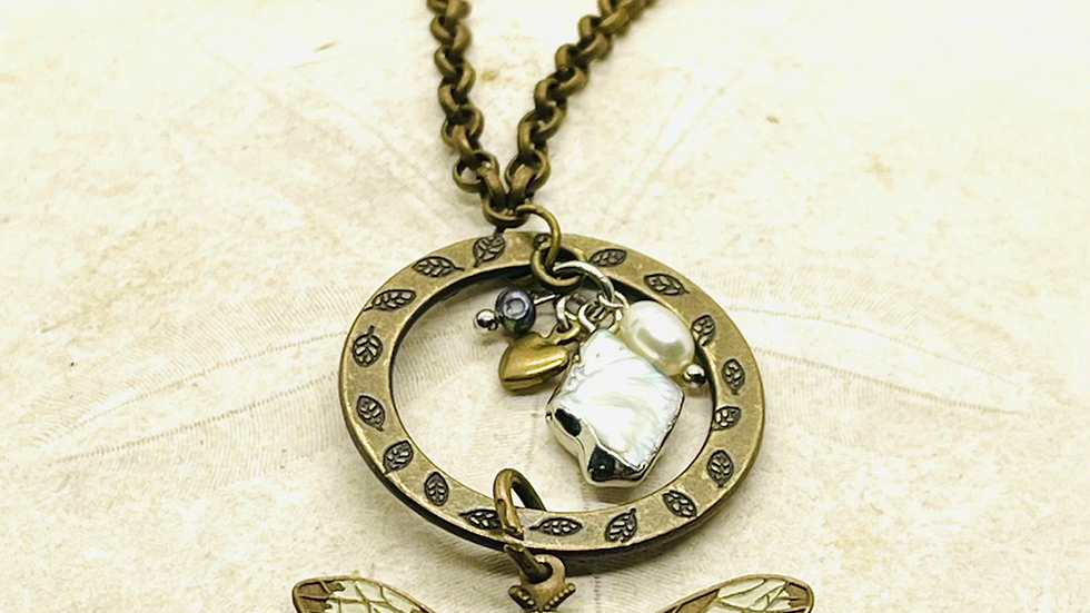 Dragonfly necklace, dragonfly tail is wire wrapped