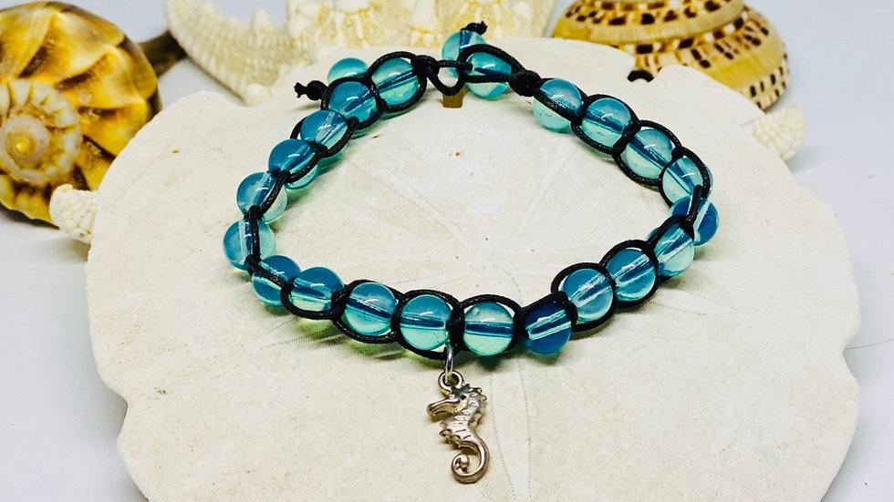 Blue seahorse Suede bracelet