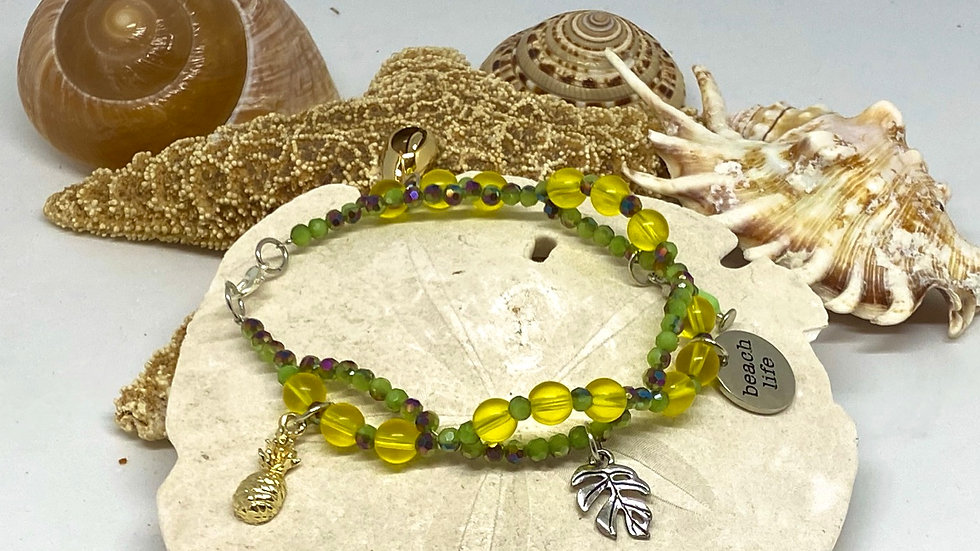 Double stranded pineapple bracelet with beach life saying