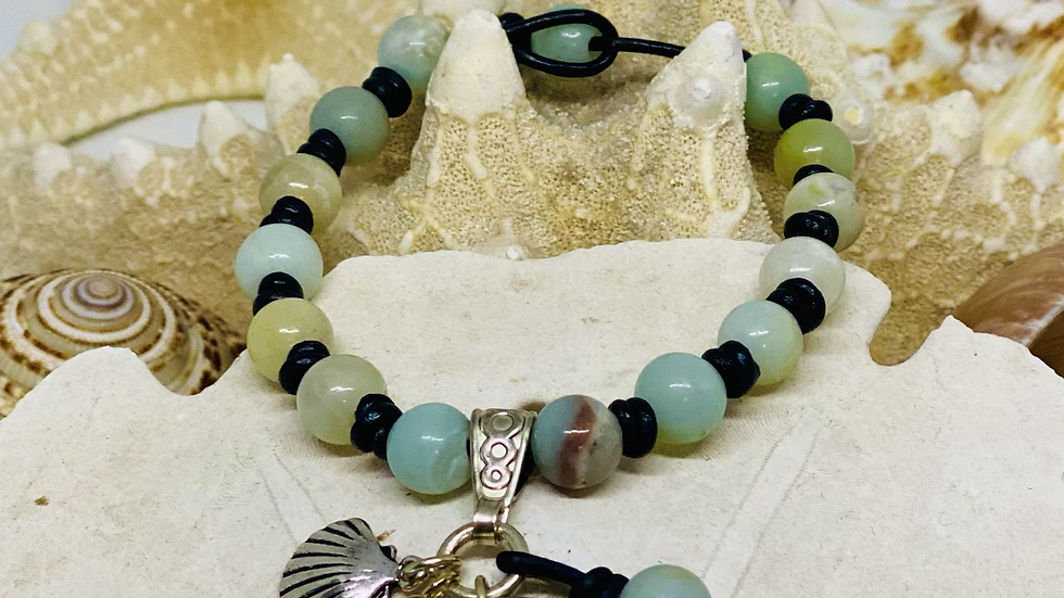 Starfish charm bracelet on Amazonite