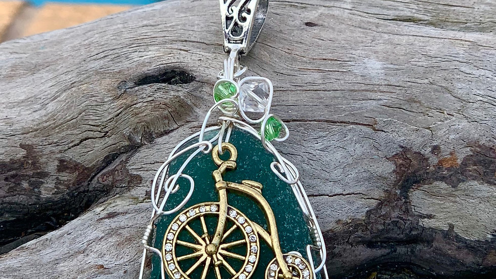 Bicycle Sea Glass Necklace