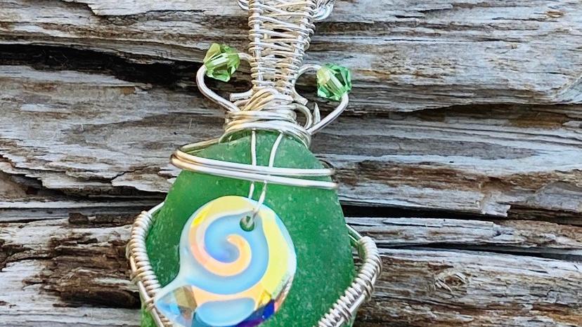 seashell seaglass pendant