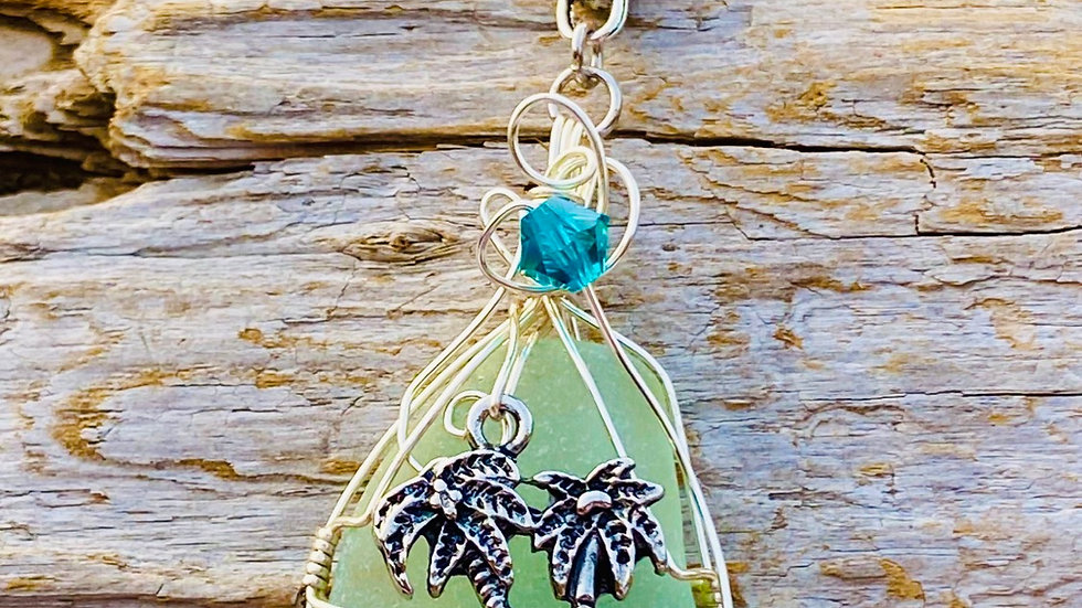Palm tree sea glass From Romania necklace