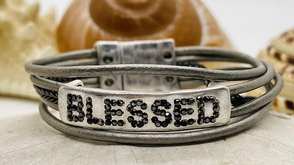 Blessed leather magnetic bracelet