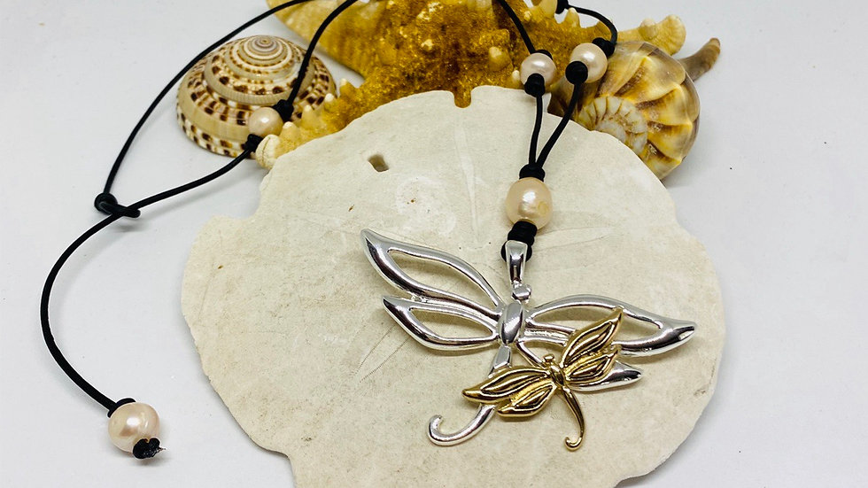 Two tone Dragonfly leather and pearl necklace