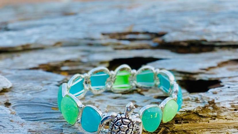 turtle seaglass bracelet