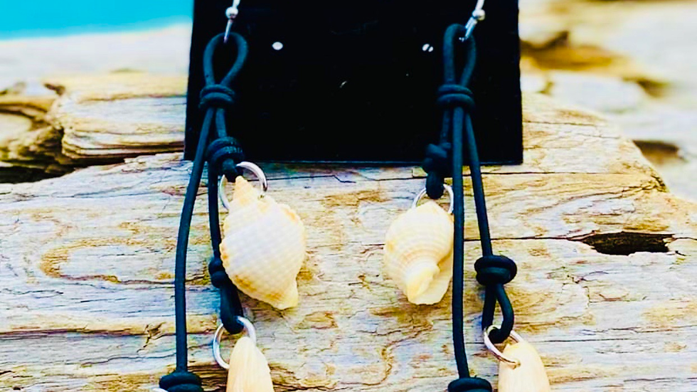 Sea shell earrings on black leather