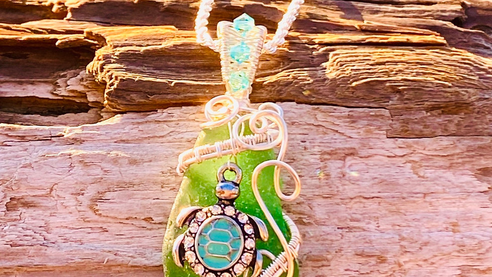 Sea glass necklace with sea turtle