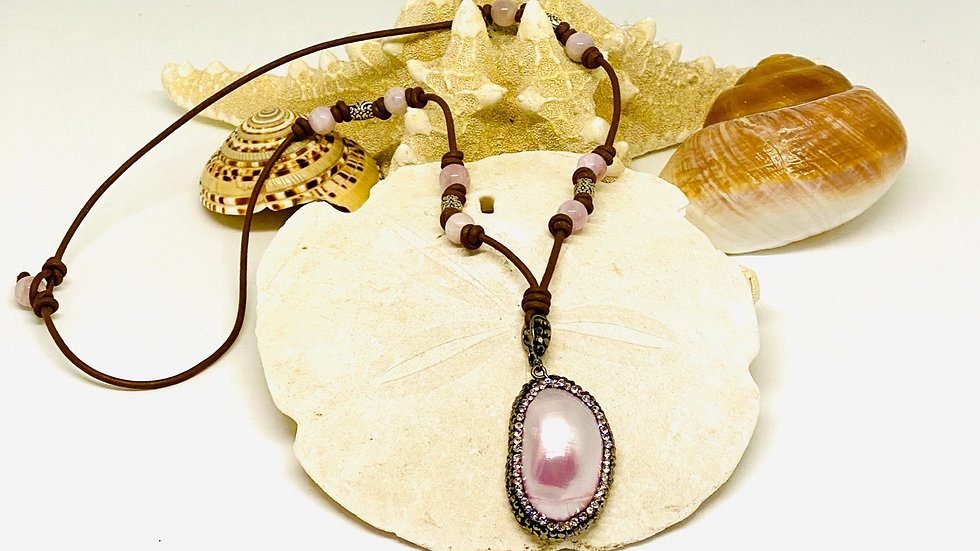 Pearl necklace with brown leather and precious stones
