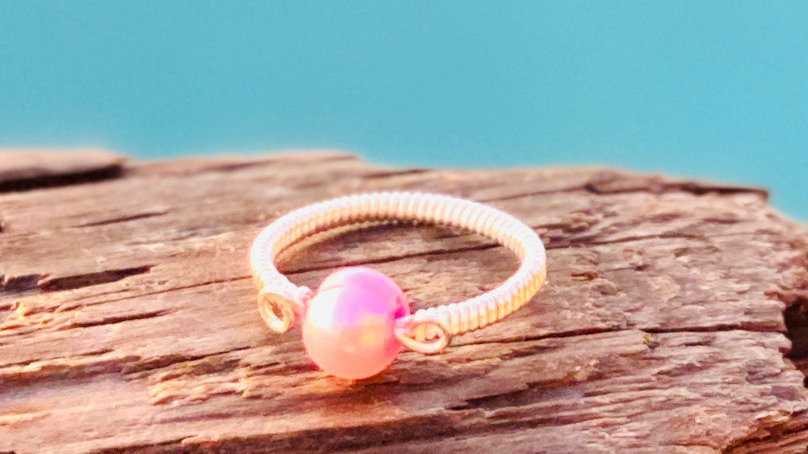 Pink freshwater pearl wire wrapped ring