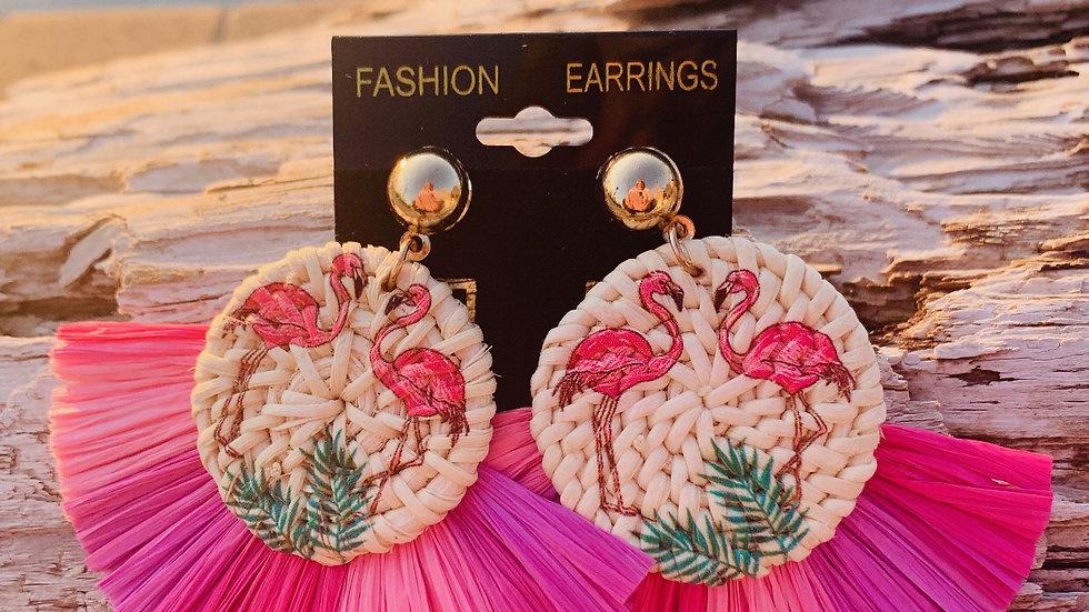 straw flamingo earrings