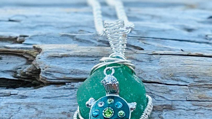 Turtle sea-glass necklace