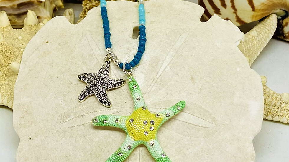 Starfish necklace with 3/4 of necklace are beaded the rest chain