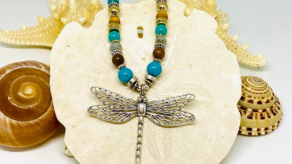Dragonfly necklace with precious beads