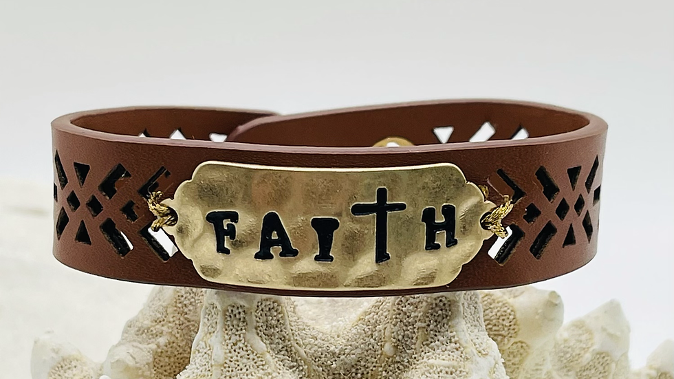 Faith bracelet on brown leather w/ 2 differ snap for length